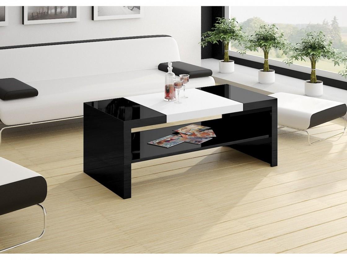 Konfereční stolek - dřevěný Konferenční stolek Duo (černá lesk+bílá lesk)