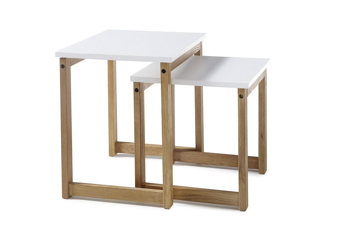 Konfereční stolek - dřevěný Konferenční stolek Juvena - set 2 kusů (bílá)