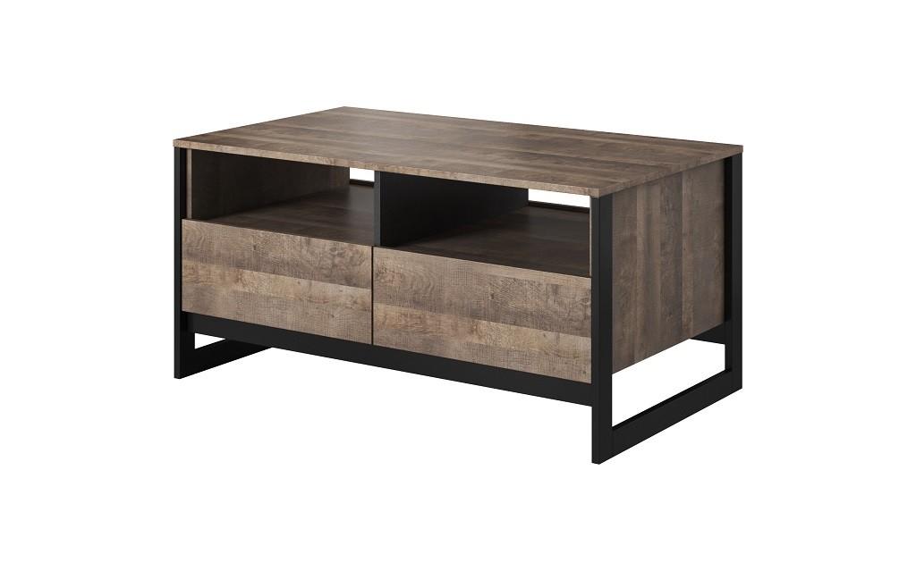 Konfereční stolek - dřevěný Konferenční stolek Laura (2xzásuvka, dub grande pískový/matera)
