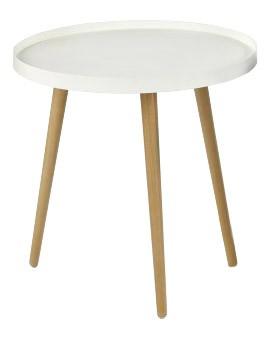 Konfereční stolek - dřevěný Konferenční stolek Malaga - kruhový, dřevěné nohy (bílá, dřevo)