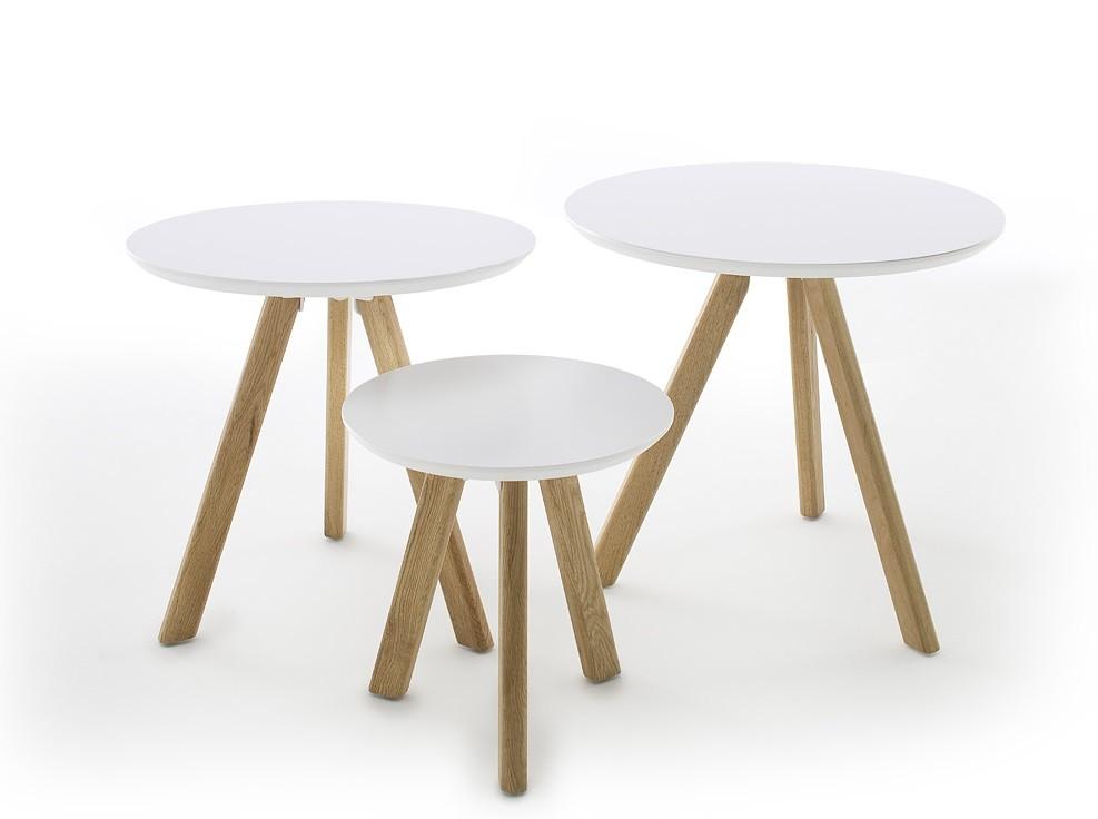 Konfereční stolek - dřevěný Konferenční stolek Modun - set 3 kusů (bílá)