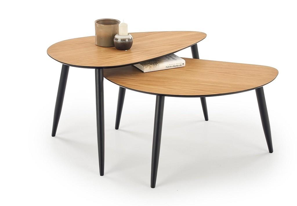 Konfereční stolek - dřevěný Konferenční stolek Noli - set 2 kusů (ořech, černá)