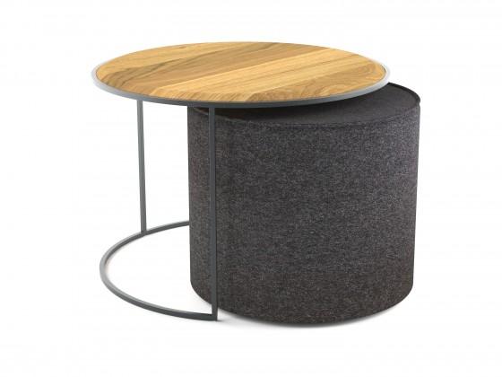 Konfereční stolek - dřevěný Konferenční stolek s taburetem Modern (hnědá, šedá)