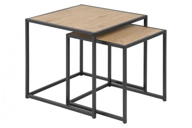 Konfereční stolek - dřevěný Konferenční stolek Seaford - set 2 kusů (hnědá/černá)