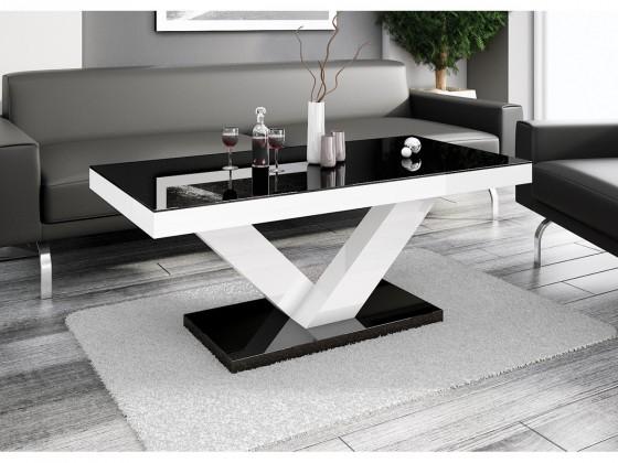 Konfereční stolek - dřevěný Konferenční stolek Victoria mini (černá lesk+bílá lesk)