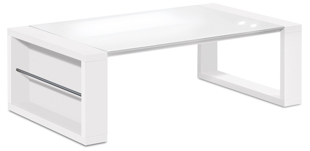 Konfereční stolek - dřevěný Linea - konferenční stolek (bílá/sklo čistě bílé)