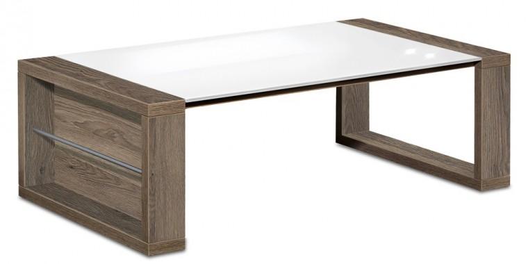 Konfereční stolek - dřevěný Linea - konferenční stolek (dub tmavý HN/sklo čistě bílé)