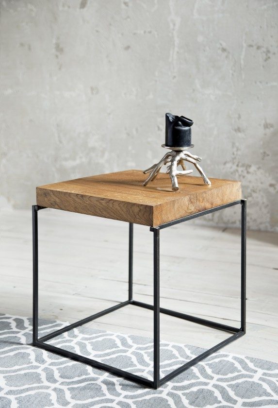 Konfereční stolek - dřevěný Loft - Konfereční stolek čtverec nízký, 40x40x40 cm