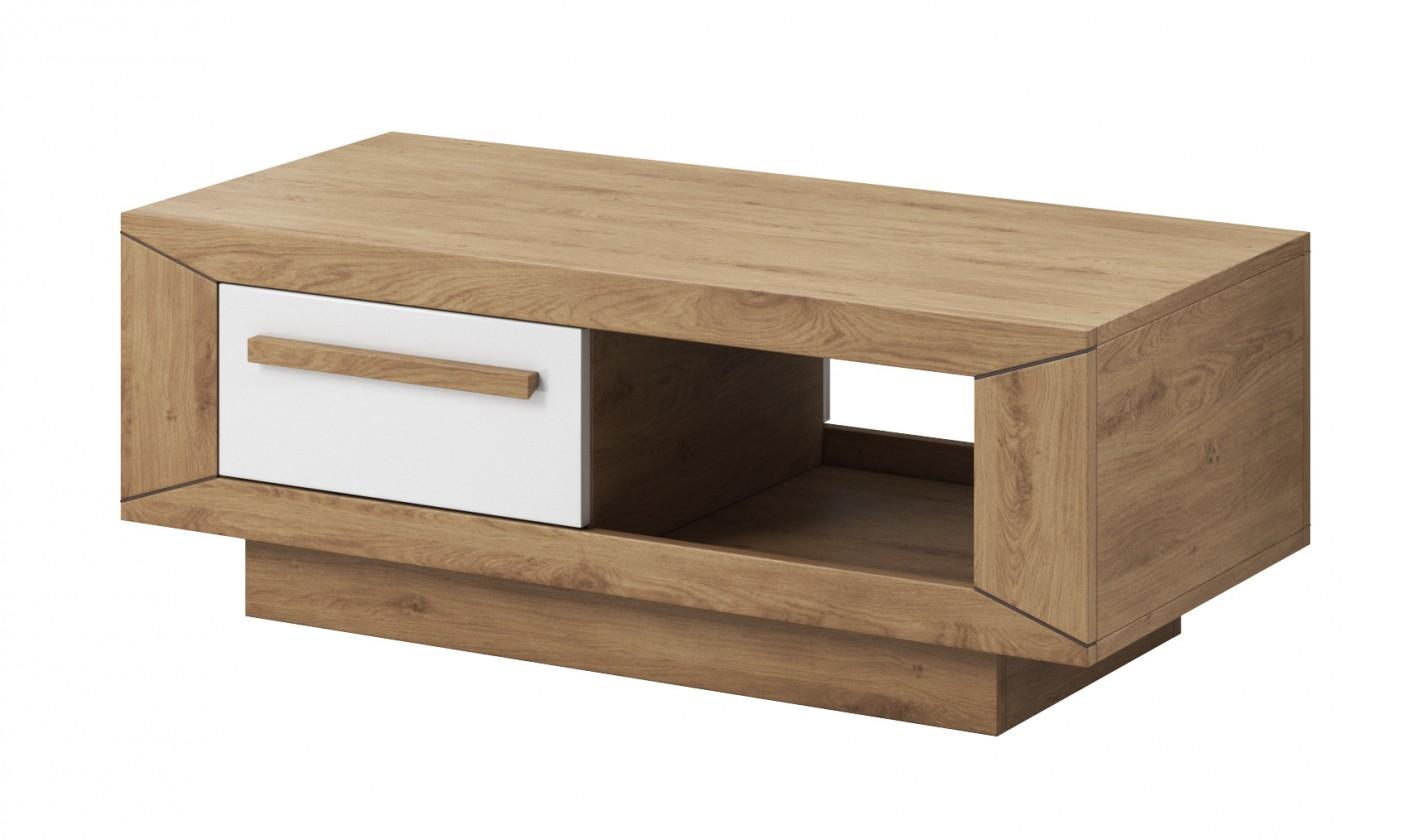 Konfereční stolek - dřevěný Lumi - Konferenční stolek (dub beaufort, bílý lesk)