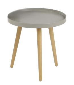 Konfereční stolek - dřevěný Malaga - Konferenční stolek kruhový, dřev. nohy (béžová, dřevo)