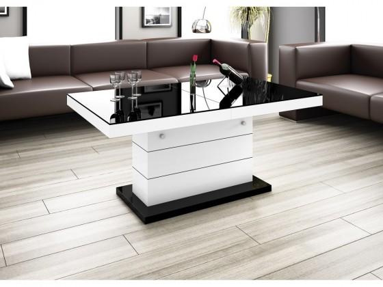 Konfereční stolek - dřevěný Matera Lux (černá lesk+bílá lesk)