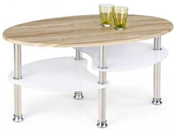 Konfereční stolek - dřevěný Medea (dub sonoma / extra bílá)