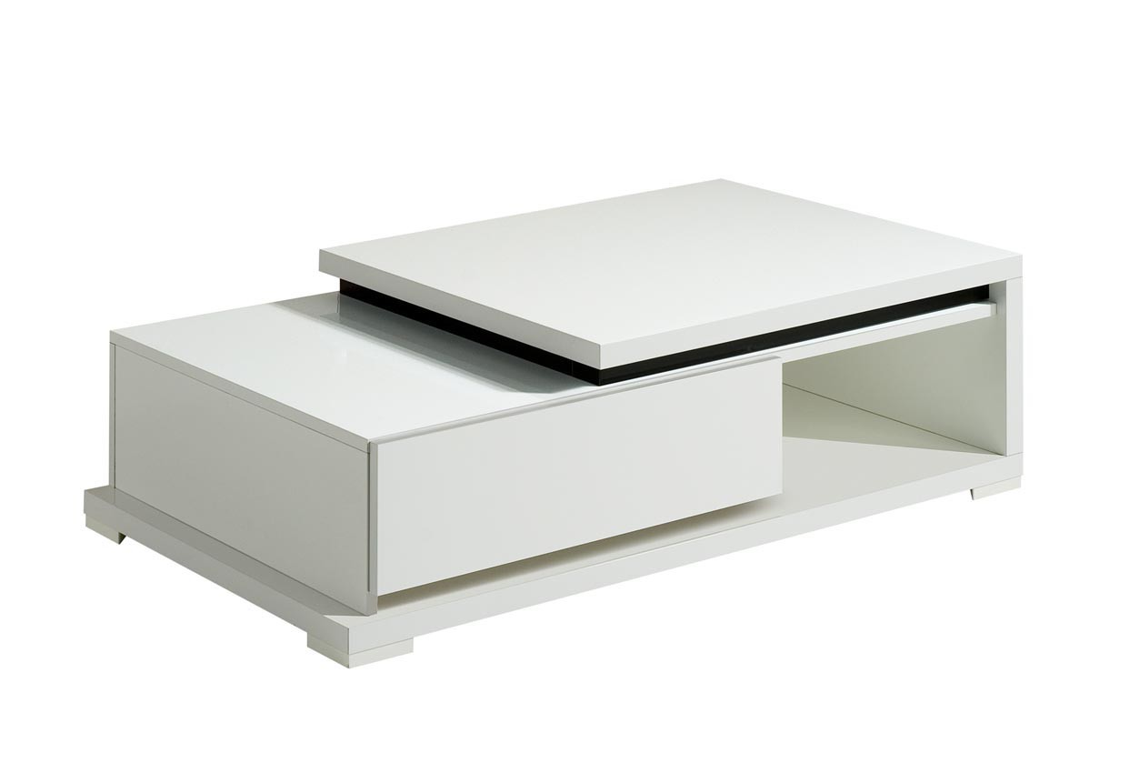 Konfereční stolek - dřevěný Nicoli - Konferenční stolek, 1x zásuvka (bílá)