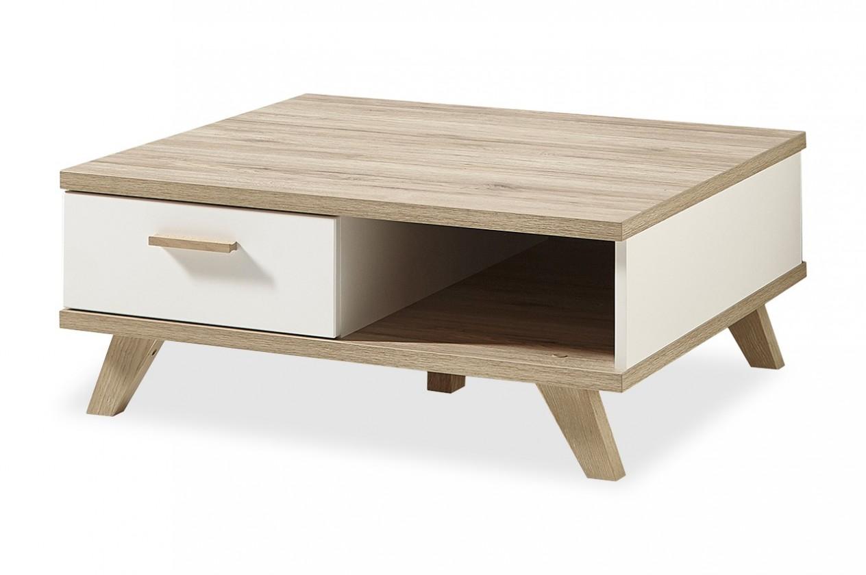 Konfereční stolek - dřevěný Oslo - Konfer. stolek, 2292-221 (bílá,dub sanremo)