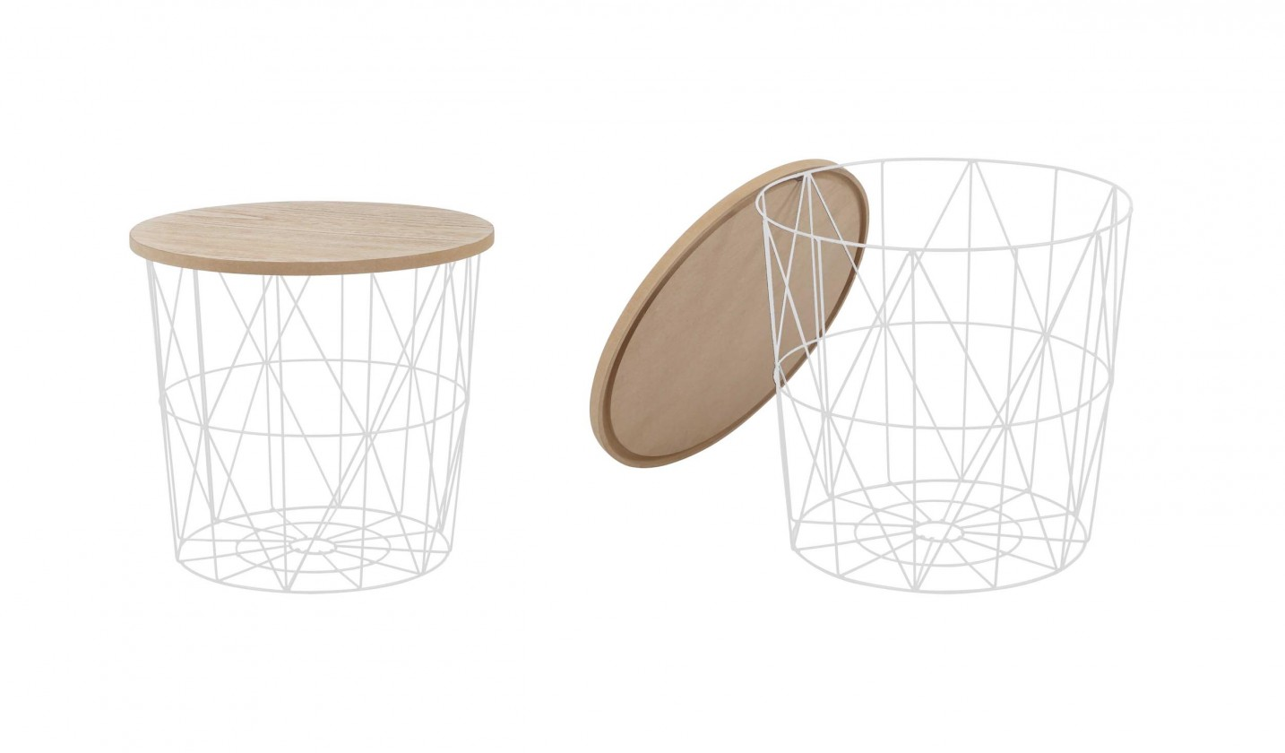 Konfereční stolek - dřevěný Přístavný stolek Mariffa (bílá/hnědá)
