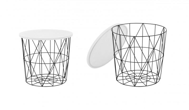 Konfereční stolek - dřevěný Přístavný stolek Mariffa (černá/bílá)