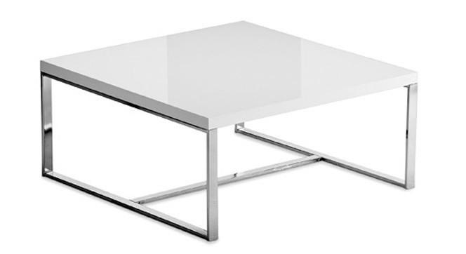Konfereční stolek - dřevěný Sushi-L - Konferenční stolek (bílá, chrom)