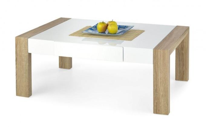 Konfereční stolek - dřevěný Tacoma(bílá/ dub sonoma)