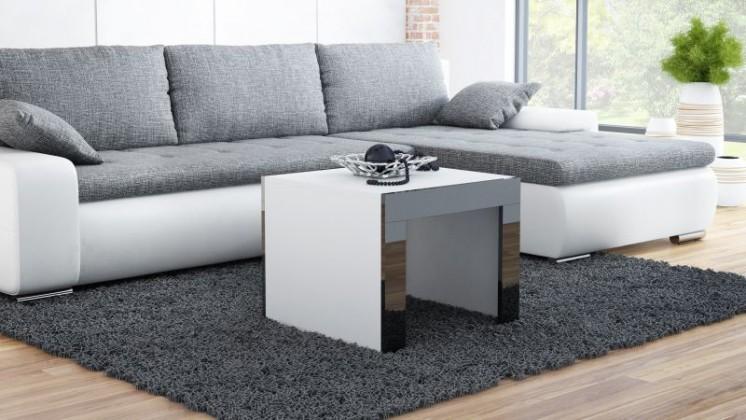 Konfereční stolek - dřevěný Tess - Konferenční stolek čtvercový (bílá, černá)