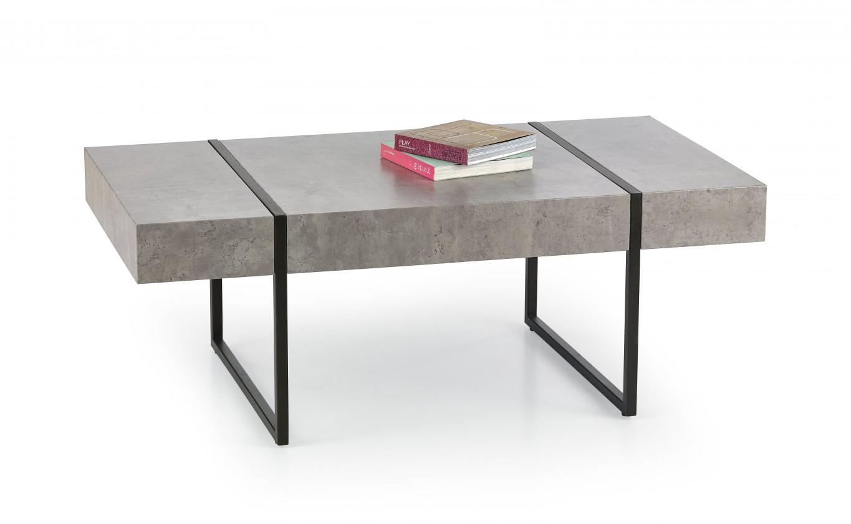 Konfereční stolek - dřevěný Tiffany - konferenční stolek beton, černý (beton/černá)