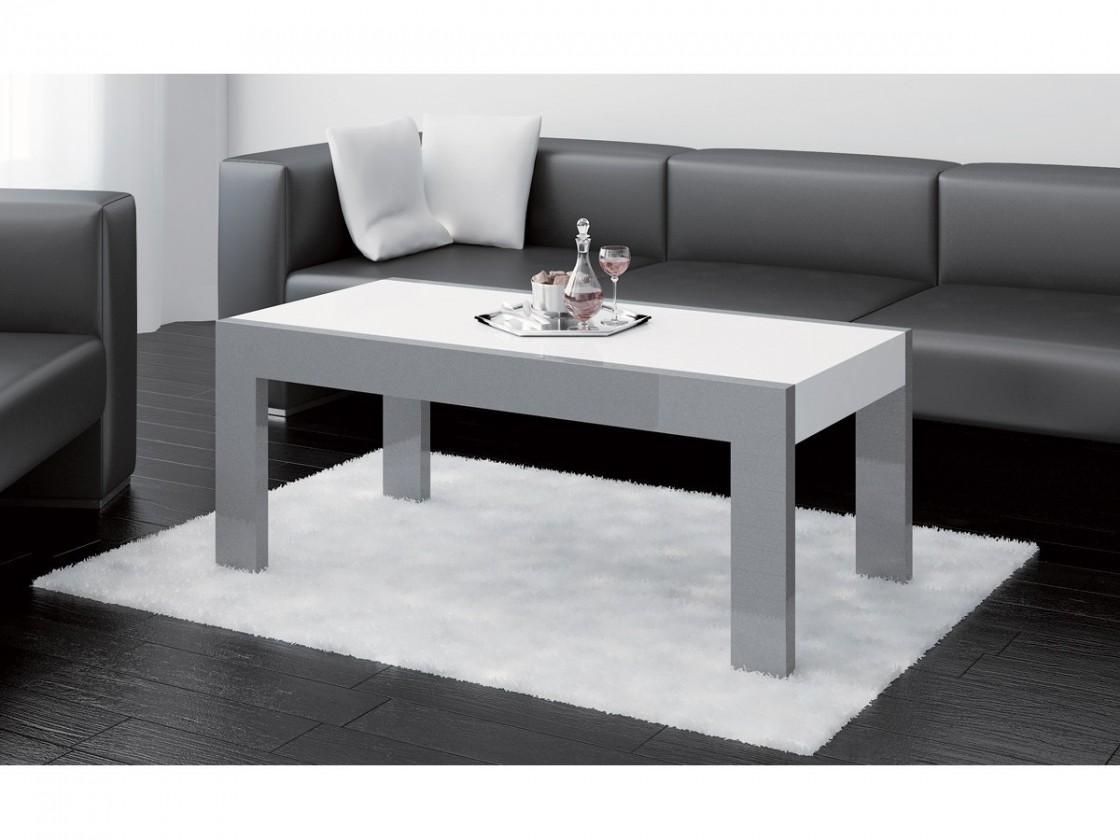 Konfereční stolek - dřevěný Tivoli (bílá lesk+grafit lesk)