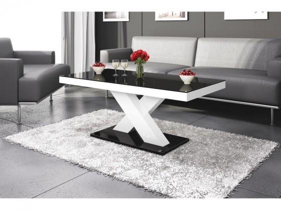 Konfereční stolek - dřevěný Xenon mini (černá lesk+bílá lesk)