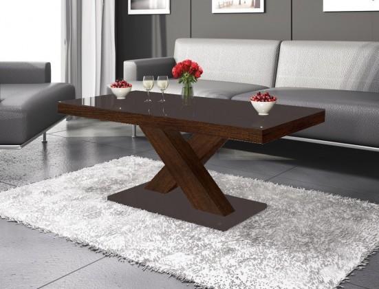 Konfereční stolek - dřevěný Xenon mini (hnědá lesk+dub faro lesk)