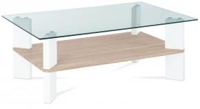 Konferenční stolek AC 134 (dub sonoma/bílá vysoký lesk/čiré sklo)