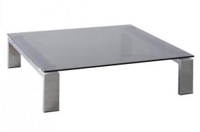 Konferenční stolek Besutto (dýmové sklo, chromové nožičky)