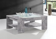 Konferenční stolek Brandy  (beton, bílé sklo)