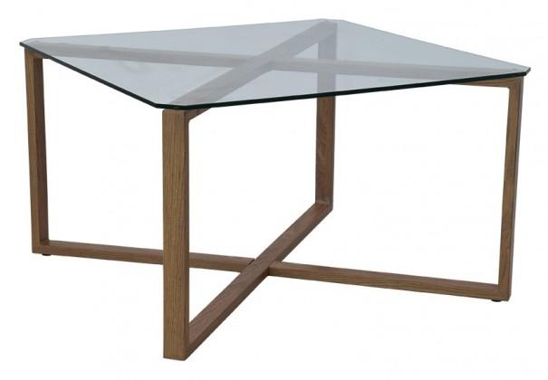 Konferenční stolek Cleo - čtverec (sklo, kov)