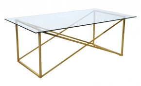 Konferenční stolek Cross - obdélník (lesklé sklo, mosazné nohy)