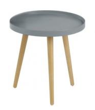 Konferenční stolek Malaga - kruhový, dřevěné nohy (šedá, dřevo)