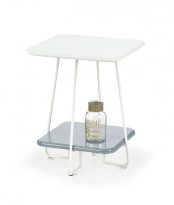 Konferenční stolek Mandy s úložným prostorem (bílá, šedá)