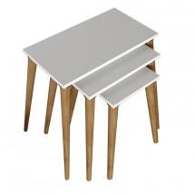 Konferenční stolek Marko - set 3 kusů (bílá, hnědá)