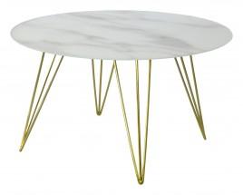 Konferenční stolek Sevila - skleněná deska, mosazné nohy