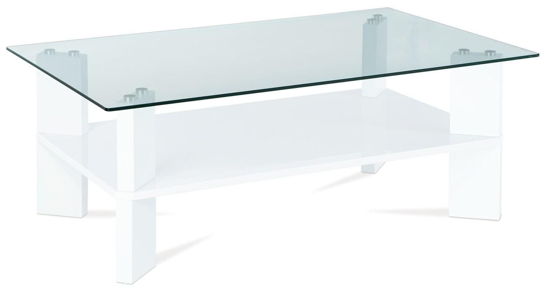 Konferenční stolek - skleněný AC 134 (bílá vysoký lesk/čiré sklo)