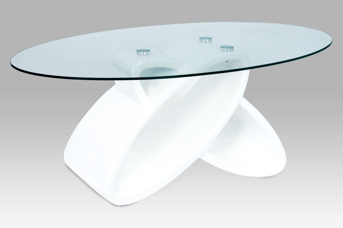 Konferenční stolek - skleněný AC 217 (bílá vysoký lesk/čiré sklo)