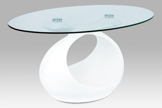 Konferenční stolek - skleněný AC 226 (bílá vysoký lesk/čiré sklo)