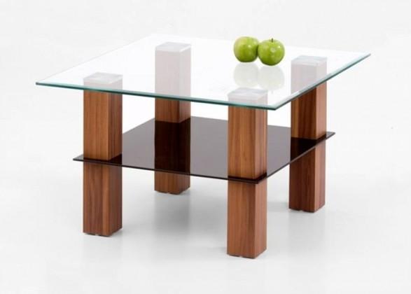 Konferenční stolek - skleněný Amelia Kwadrat (Ořech)