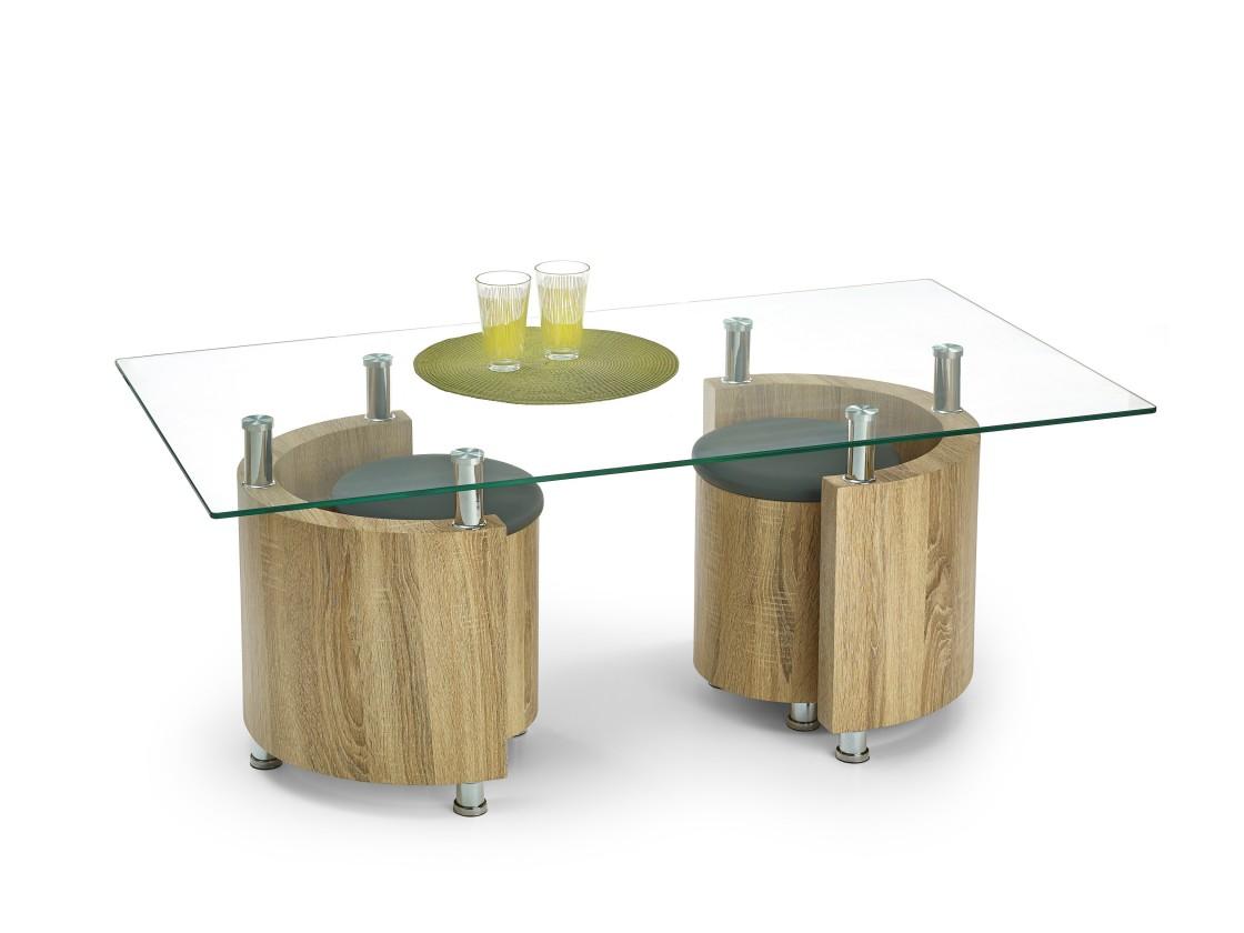 Konferenční stolek - skleněný Angel - Konferenční stolek (dub sonoma/šedá)