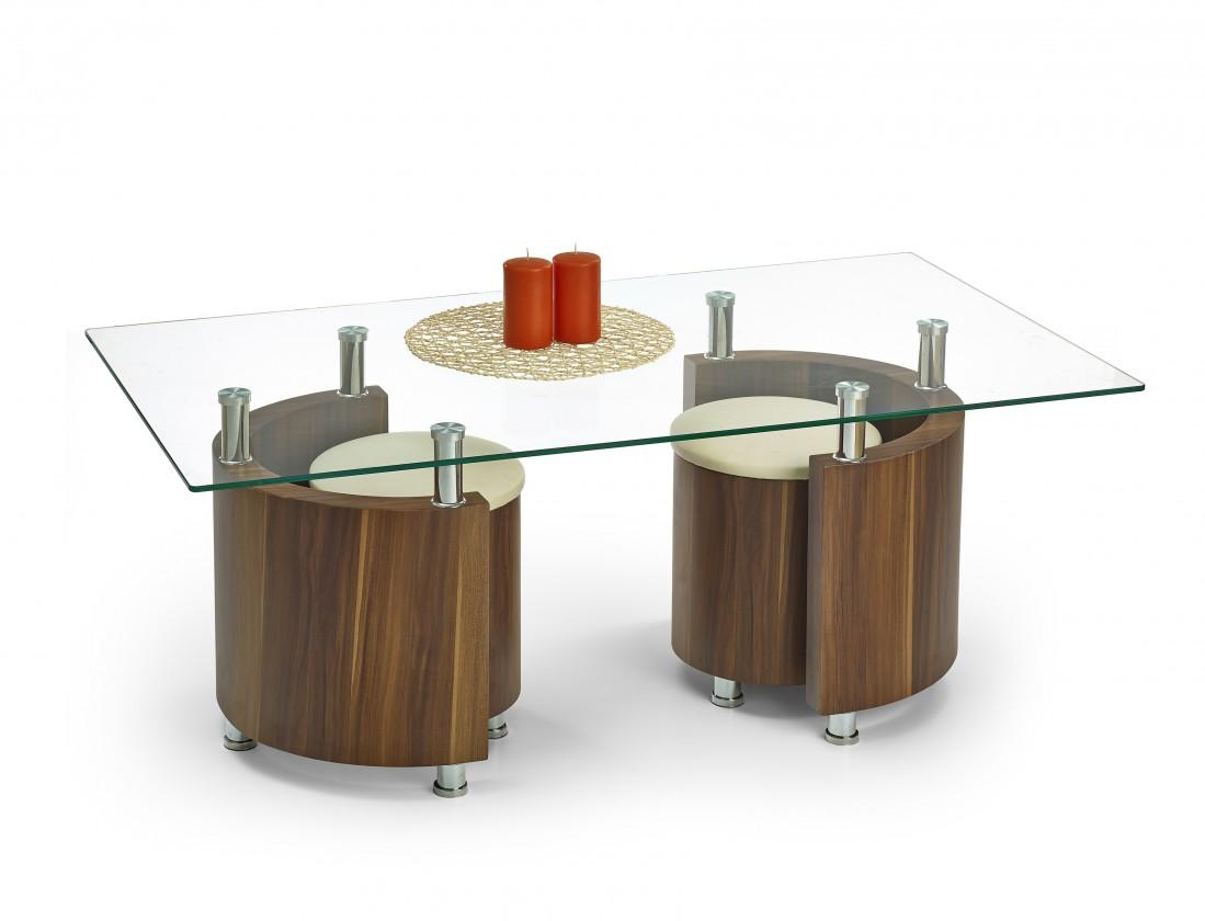 Konferenční stolek - skleněný Angel - Konferenční stolek (ořech/krémová)