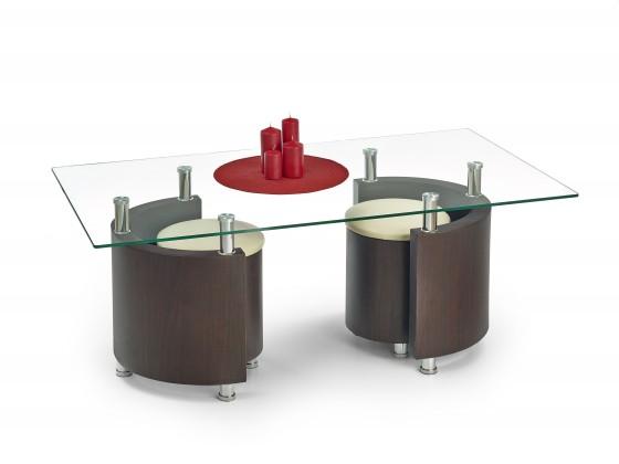 Konferenční stolek - skleněný Angel - Konferenční stolek (wenge/krémová)
