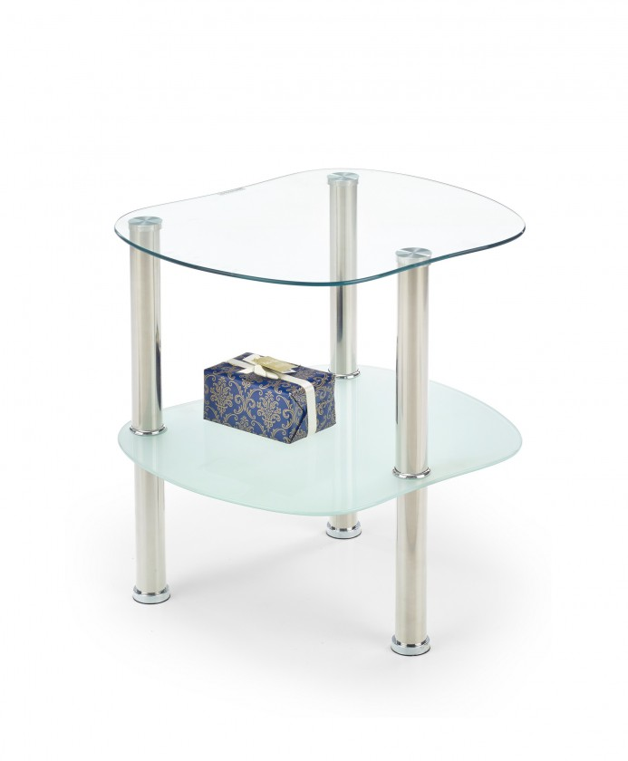 Konferenční stolek - skleněný Arya - Konferenční stolek (Sklo/kov, police mléčné sklo)