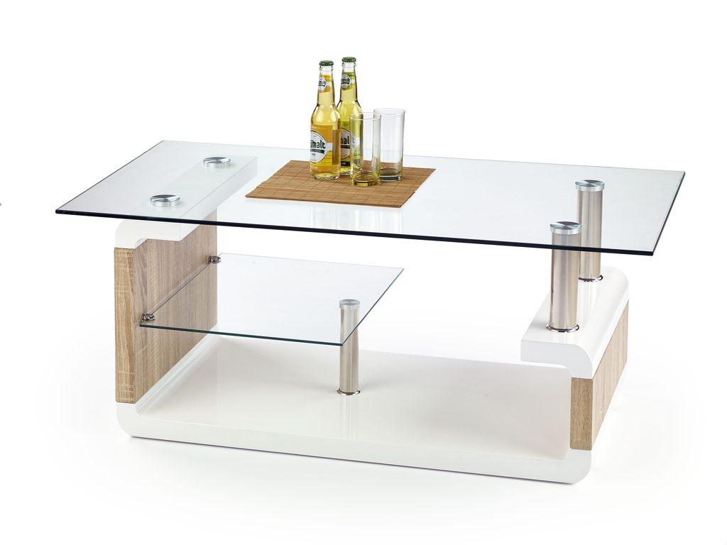 Konferenční stolek - skleněný Carissa(bílá/ dub sonoma)