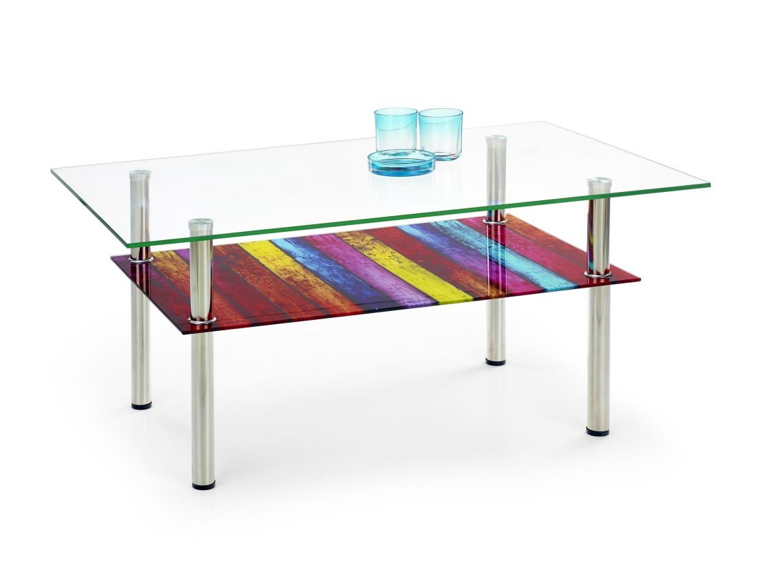 Konferenční stolek - skleněný Cleopatra - Konferenční stolek (vícebarevný)