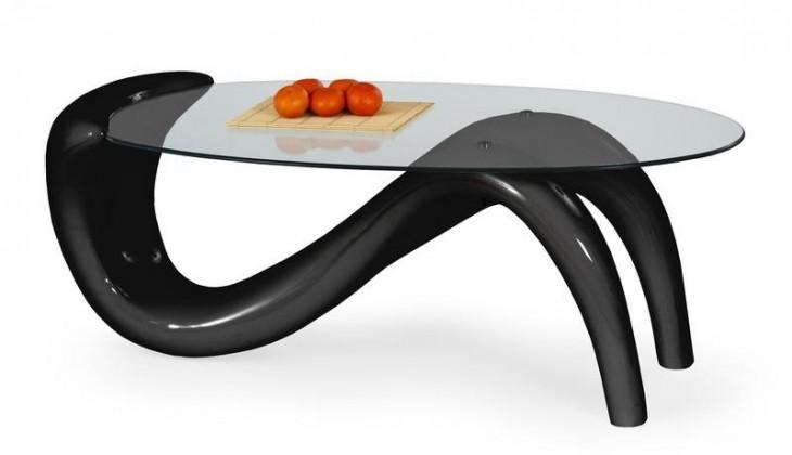 Konferenční stolek - skleněný Cortina (Černá)