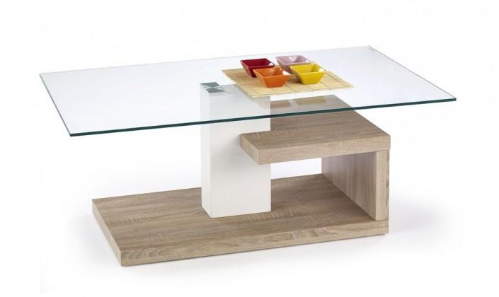 Konferenční stolek - skleněný Evelin(dub sonoma)