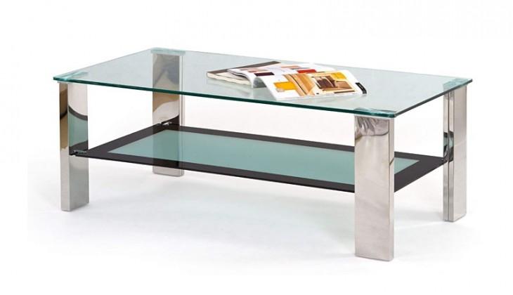 Konferenční stolek - skleněný Frida (sklo, police mléčné / černé sklo)