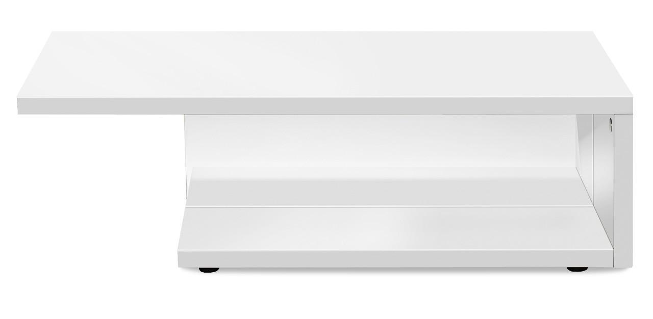 Konferenční stolek - skleněný Game - konferenční stolek s čirým sklem (bílá/bílá)